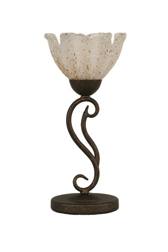 RZ-755 Olde Iron One-Light Mini Table Lamp Bronze Finish with Gold Ice Glass Shade, 7-Inch (1 Light Mini Table Lamp)