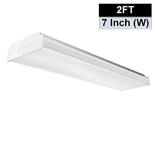 AntLux 2FT LED Wraparound Flushmount LED Garage Lights - 20W 2400LM - 4000K Neutral White - Integrated Low Profile Commercial Linear Ceiling Lighting - Fluorescent Light Ceiling White