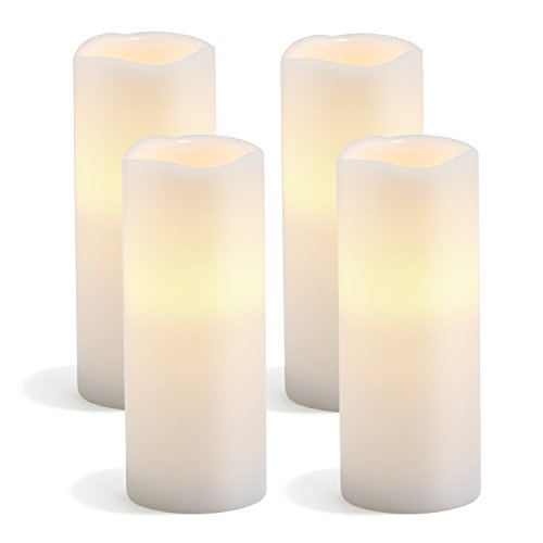 Melted Edge Flameless Candles, Set of 4, White Wax, 3
