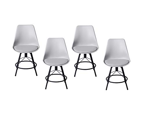 HAOBO Home Modern Industrial Metal Stool [Set of 4] Stackable for Indoor/Outdoor Dining Chair (24″, 04 Gray) Review