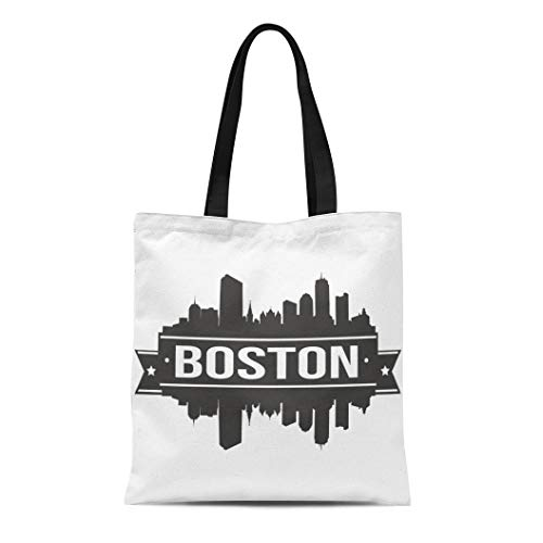 Bag Massachusetts Boston Skyline Silhouette America Architecture Beautiful Big Black Durable Reusable Shopping Shoulder Grocery Bag ()