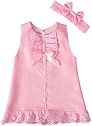 Becoler Children Girls Dress + Headband Solid Ruffle Lace Dress Outfits Clothing Set