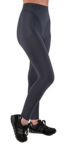 CzSalus Anti Cellulite Slimming Leggings (Fuseaux) + Silver - (Graphite Gray, XXL) (Best Cellulite Products 2019)