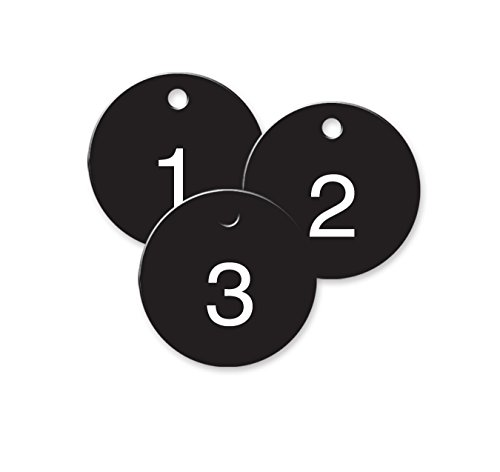 Numbered Plastic Circle Tags - Black - Pack of 25 (1-1/2