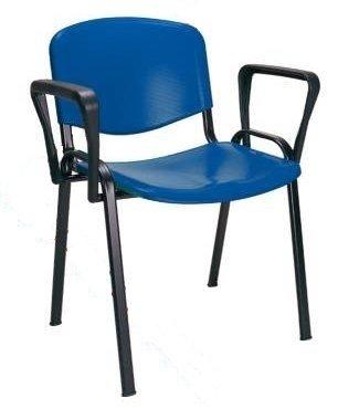 KARISMA - ISO POINT B, Sedia In Plastica Casa / Ufficio / Attesa / Scuola / Bar Più Braccioli Destro Sinistro, Blu Eurotekna