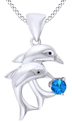 AFFY 14k White Gold Over Sterling Silver Round Simulated Blue Topaz Double Dolphin Pendant Necklace