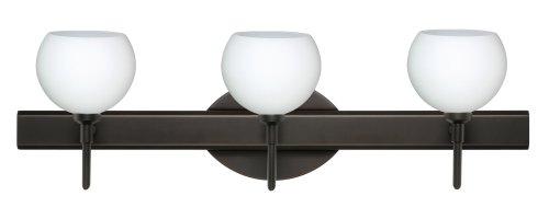 Besa Lighting 3SW-565807-BR Palla 5 3-Light Vanity Fixture, Opal Matte Art Glass Shades with Bronze Finish