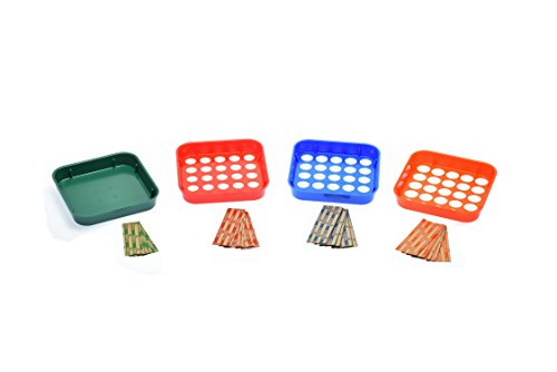 Nadex Coin Sorting Tray Set Color Coded for Quick Speed Organizing of Pennies, Nickles, Dimes, and Quarters - 20 Coin Wrappers Included (Counter Tray Change)