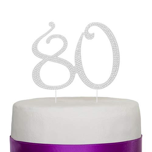 Ella Celebration 80 Cake Topper for 80th Birthday Anniversary Party Supplies & Decoration Ideas (Silver)