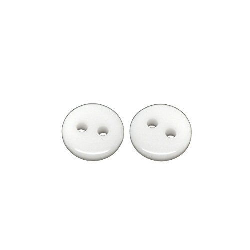 [HOUSWEETY 500PCs White Round 2 Holes Resin Sewing Buttons Scrapbooking 9mm(3/8