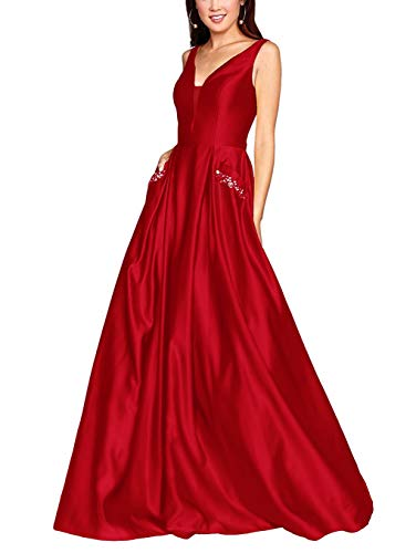 QueenBridal Women's V Neck Open Back Beaded Satin Prom Dress Long Formal Evening Gown with Pockets QU53 Red