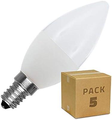 LEDKIA LIGHTING Pack Bombillas LED E14 Casquillo Fino C37 5W (5 un ...