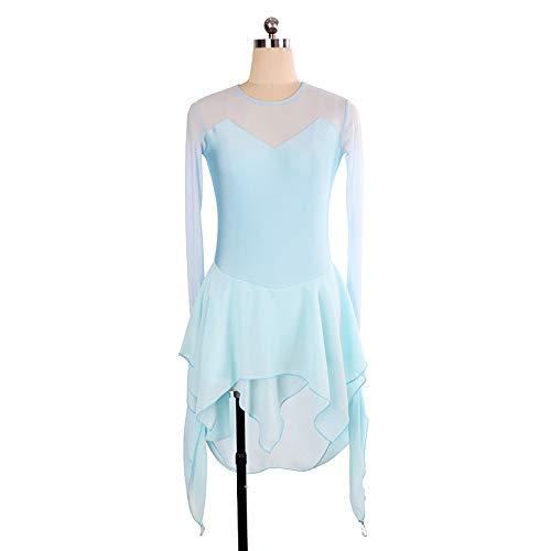 Corte Sexy Da Barchetta A Rete A Dress Nylon Pattinaggio Scollo A In Maglia In Ritmica Blue1 Maniche Abito Con zqn4Spq