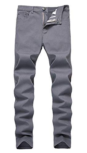 NITAGUT Men's Skinny Slim Fit Stretch Straight Leg Fashion Jeans Pants (US 34, Gray)