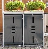 Mülltonnenbox Metall für 2 Mülltonnen mit Pflanzwanne anthrazit …