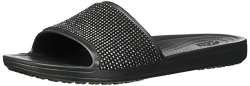 Crocs Women's Sloane Ombre Diamante Slide Sandal, Black, 4 M US ()