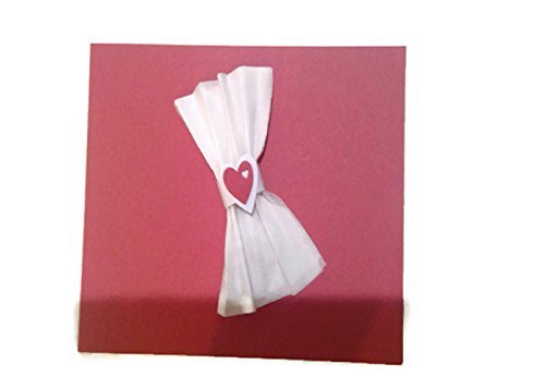 Napkin Rings Heart Shaped Party Decor White and Red Set of 10