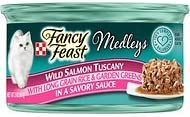 Fancy Feast Medleys Wild Salmon Tuscany with Long Grain Rice Garden Greens in a Savory Sauce, 3-oz, case of 24
