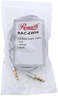 3.5mm Flat Audio Cable White Rosewill RAC-6WH 6 ft