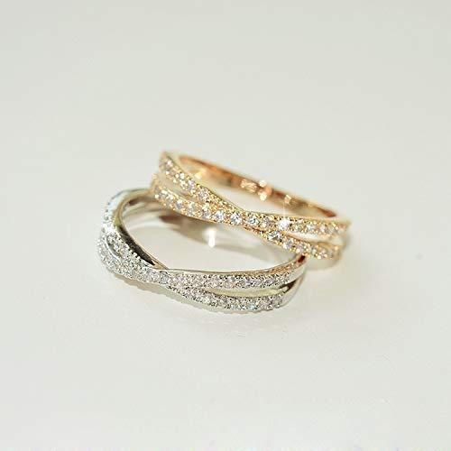 Jewelry Micro Pave Flash Diamond Cross Index Finger Tail Gift Women Girls (Rose Gold Diameter 17mm