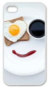 E-luckiycase PC Hard Shell Breakfast Smile White Skin Edges for Iphone 4 4s Case