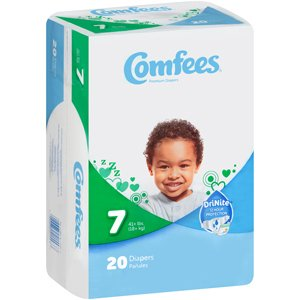 Comfees CMF-7 Disposable Baby Diapers-Size 7-80/Case