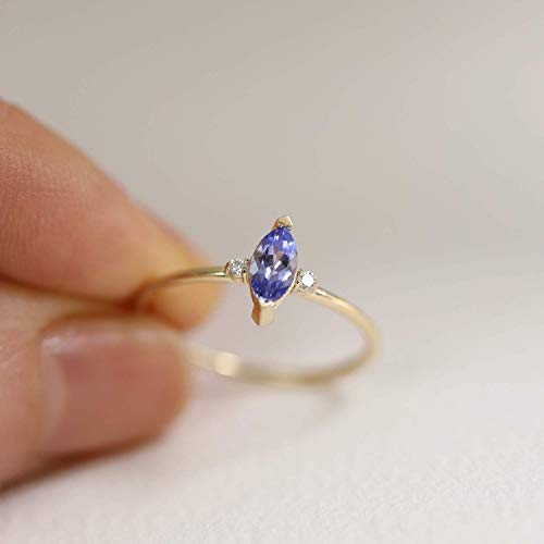 (Tanzanite Marquise Double Diamond Ring Band, Engagement Wedding Ring, 10K 14K Solid Gold Ring, Diamond Ring, Stackable Rings, Gifts for Her)