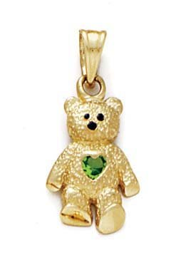 14k Yellow Gold Teddy Bear August Pendant 15/16 Inch long