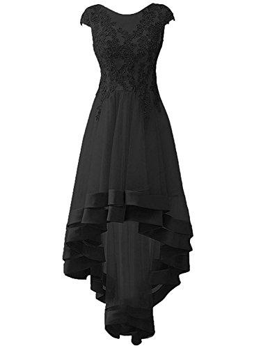 Ballkleider Tüll Festkleider Schwarz Applikationen Lang Brautjungfernkleider Abendkleider Damen Hochzeitskleider wqAS4Cn