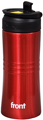 Front Stainless Steel Sipper Bottle, 450ml, Red/Black