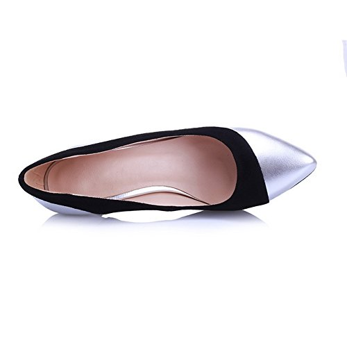 Shoes With Slipping Heels Non Sole and Closed Pumps Womens Burnished High Silverblack Toe Toe Pointed AmoonyFashion wRaOxq8z