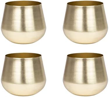 Gold Votive Candle Holders | Small Pillar Candle Holders | Wedding Centerpiece Table Decor | Gold Decorations | Boho Wedding (Set of 4)