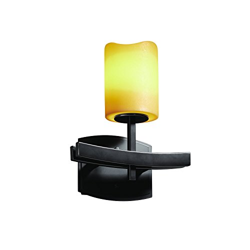 Justice Design Group CandleAria 1-Light Wall Sconce - Matte Black Finish with Amber Faux Candle Resin Shade -