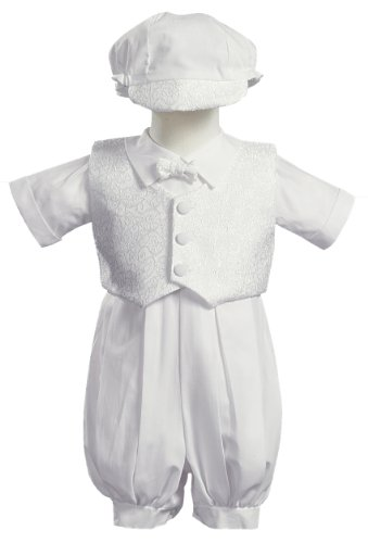 Cotton Christening Set - White Poly Cotton Christening Baptism Romper Set with Vest and Hat - Size S (3-6 Month)