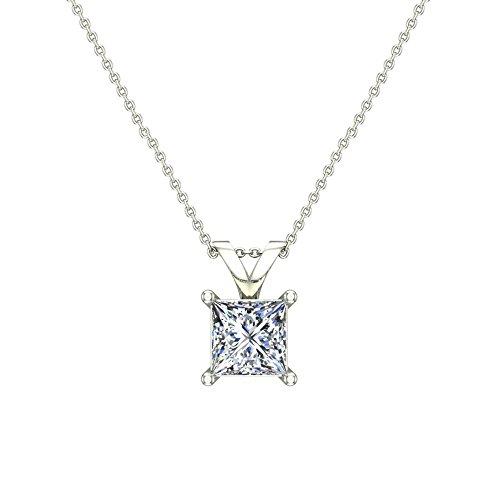 3/8 ct tw I1 G Natural Princess Cut Diamond Solitaire Pendant Necklace 14K White Gold - Princess 14k Natural Diamond Solitaire