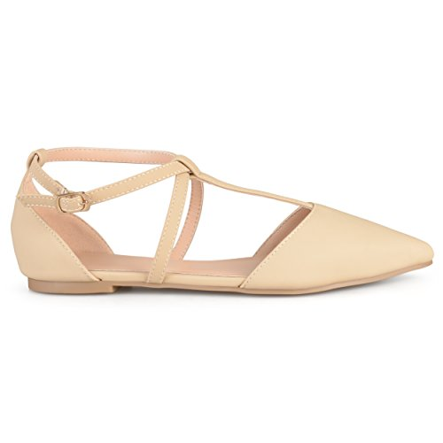 Brinley Co. Womens Pointed Toe Ankle Wrap T-Strap D'Orsay Flats Nude, 8 Regular US