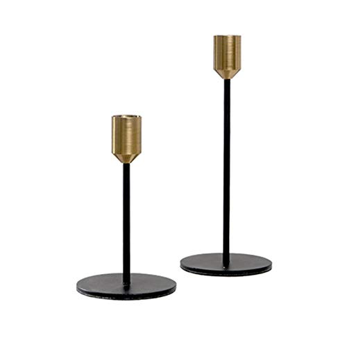 BWRMHME New Modern Style Gold with Black Metal Candlesticks Wedding Decoration Bar Party Candlestick Home Decor Candle Holders Womei