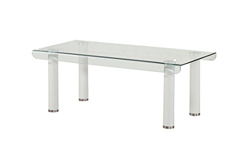 Acme Furniture 83680 Gordias White Coffee Table With Glass Top