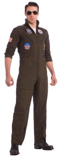 Top Gun Flight Suit Costume - Top Gun US Navy Adult Flight Suit, Khaki, Plus Costume