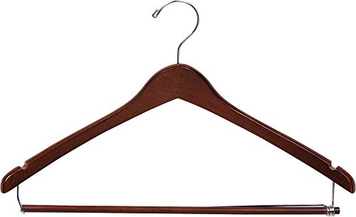 The Great American Hanger Company Curved Wood Suit Hanger w/Locking Bar, Box of 25 17 Inch Hangers w/Walnut Finish & Chrome Swivel Hook & Notches for Shirt Dress or Pants (Hook Swivel Chrome)