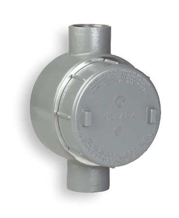 Killark GECCT-1 C Type Outlet Body, Copper-Free Aluminum, 1/2'' Hub, 19 cu. in, Gray