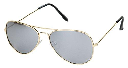 Basik Eyewear- Classic Teardrop Metal Pilot Aviator Sunglasses w/ Mirrored Color Reflective Lens (Silver Lens, 140)