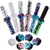 12 Pack Mermaid Sequin Slap Bracelet, Two-Color Decorative Reversible Charm Sequins Flip Wristband Bracelet for Kids, Girls, Boys or Birthday Party ()