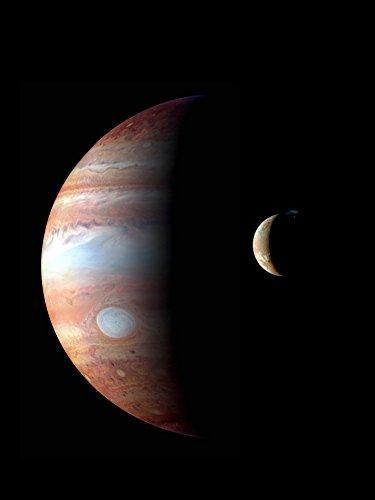 Jupiter and its volcanic moon Io Poster Print