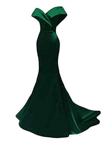 Off The Shoulder Mermaid Prom Dresses 2019 Long Satin Evening Dresses Formal Party Gowns for Women Emerald Green