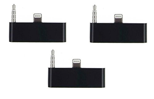 30 Pin to 8 Pin Adapter Adaptor Converter with Audio Connector Black iPhone 6S [3 PCS]