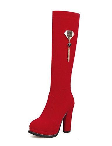 Fiesta Robusto De 5 us6 Rojo Y Uk4 Zapatos A Tacón Uk6 La 5 7 Cn37 Cn39 Noche Red Vellón Botas Eu37 Negro Red us8 Eu39 5 Moda Xzz Vestido Mujer wIqvx5
