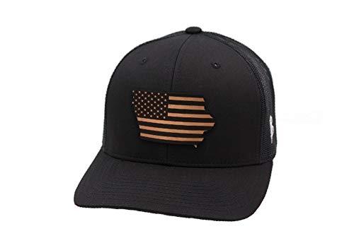 Iowa Leather - Branded Bills 'Iowa Patriot' Leather Patch Hat Curved Trucker - OSFA/Black