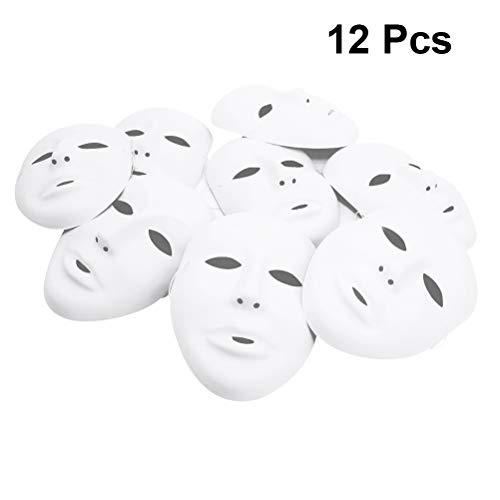 Amosfun Halloween Male Full Face Mask Cosplay Party DIY Blank Painting Mask Halloween Ghost Cosplay Masquerade Party Mask 12PCS White]()