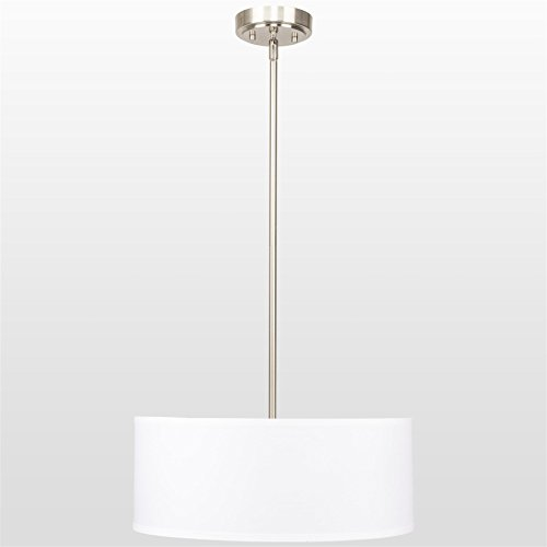 Revel Nolan 18″ Classic Drum Chandelier, Stem-Hung Adjustable Height, White Fabric Shade + Glass Diffuser, Brushed Nickel Finish